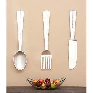 Deco 79 Aluminum Wall Decor, 36 by 8-Inch, Set of 3
