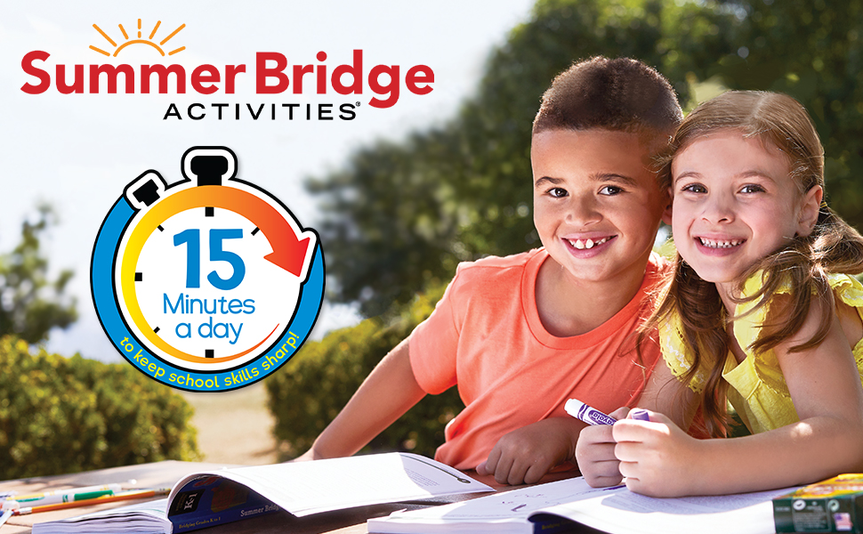 A young boy and girl in a park working on a Summer Bridge workbook