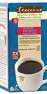 Teeccino Dandelion Vanilla Nut Herbal Tea is made with organic dandelion root for detox