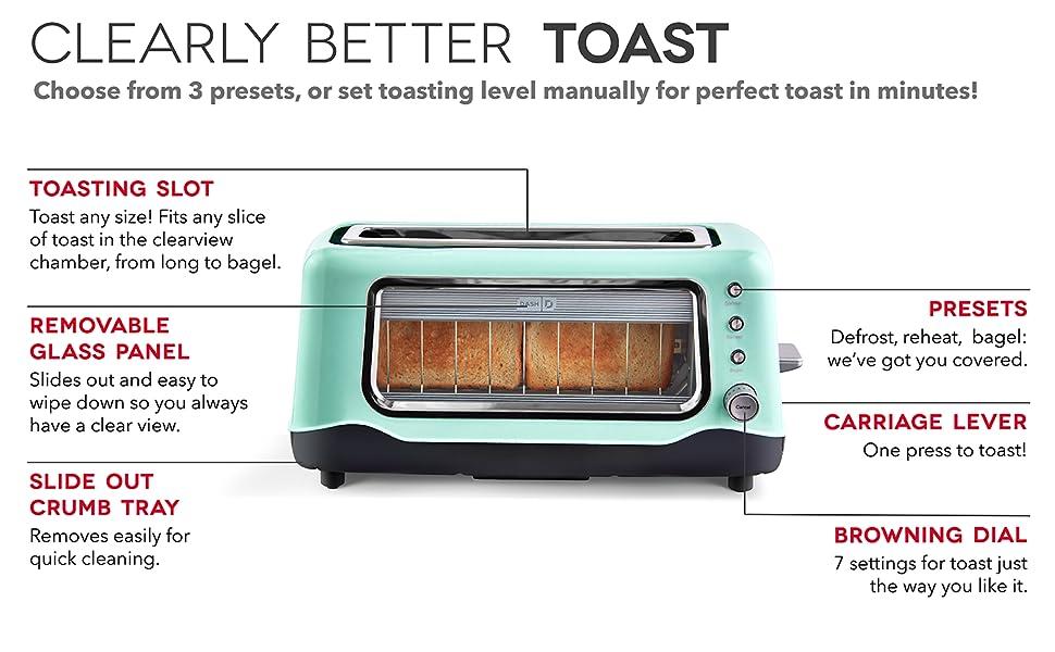 Dash 2-Slice Clear View Toaster Aqua