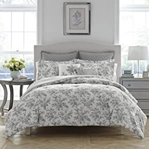 grey bedding;grey florals;grey comforter set;bed in a bag;queen grey bedding;king grey bedding