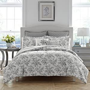 grey bedding;grey florals;grey comforter set;bed in a bag;queen grey bedding;king grey bedding