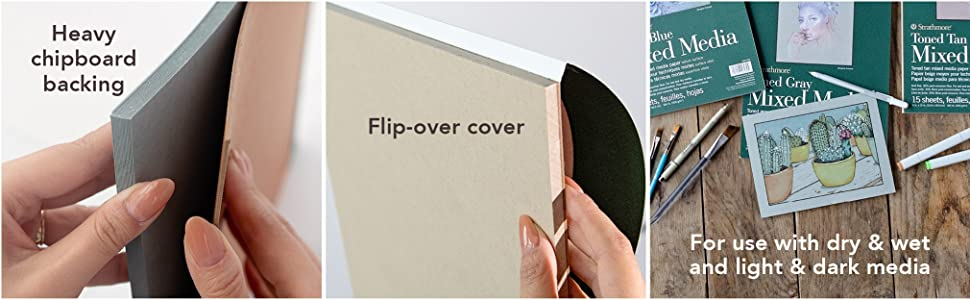 Sketch pad features heavy chipboard, flipover pad cover. Draw and paint with light and dark media