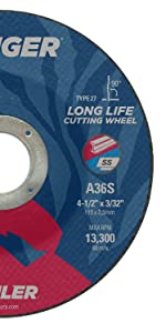 7//8 A.H. Pack of 25 Weiler 57020 4-1//2 x 0.045 Tiger Type 1 Thin Cutting Wheel A60T 7//8 A.H. Pack of 25