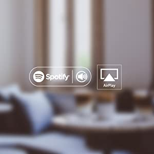 Audio Pro Spotify Apple Airplay logos compatible Multiroom Wireless WiFi Music streaming service