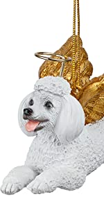 Design Toscano Honor the Pooch: White Poodle Holiday Dog Angel Ornament