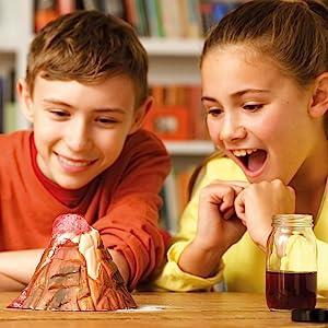 Juguetes STEM para niños, juguetes de tallo, construye tu propio volcán, volcán de trabajo
