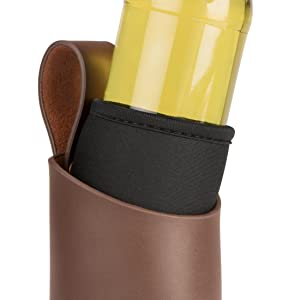 Marron 21,05 x 10,05 x 7,5 cm Levivo ASS200200000023 /Étui en cuir avec rivets pour bouteille