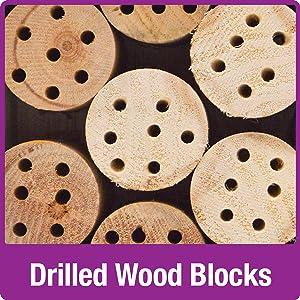 drilled wood blocks