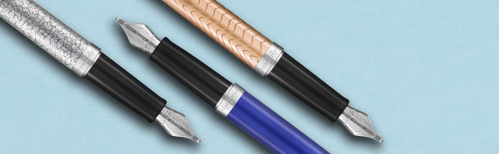Gift Box Waterman Hemisphere Deluxe Fountain Pen Medium Nib Rose Wave Lacquer Blue Ink