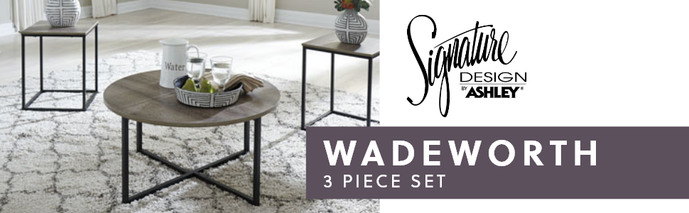 wadeworth 3 piece occasional table set signature design by ashley furniture