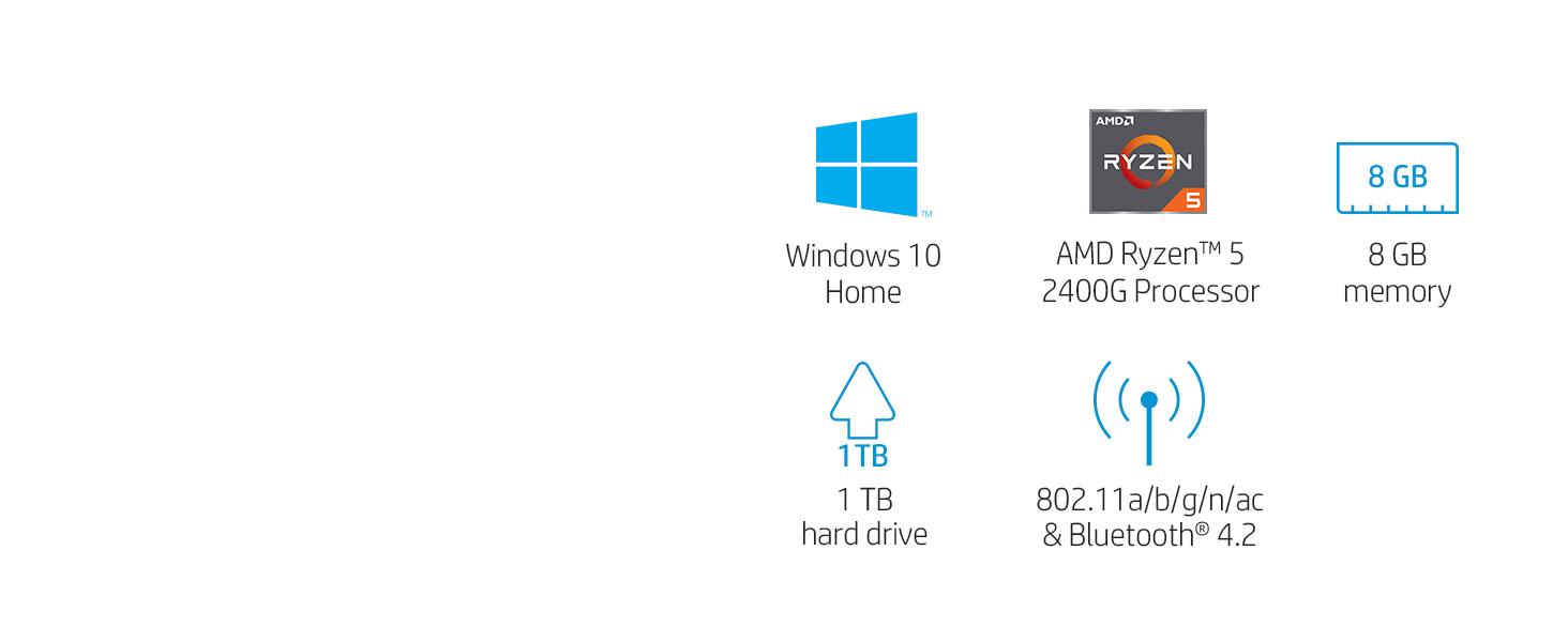 HP Pavilion Desktop Computer, AMD Ryzen 5 2400G, 8GB RAM, 1TB Hard Drive,  Windows 10 (590-p0040, Silver)