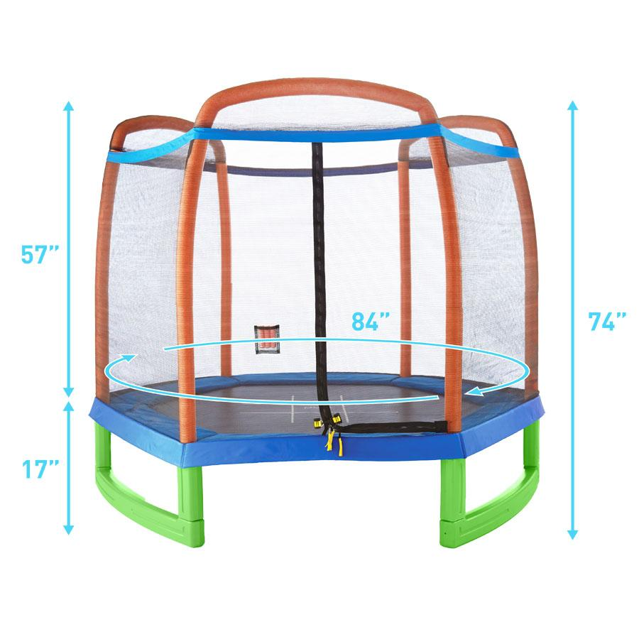 Pure Fun 7-Foot Trampoline With Enclosure Set, Fitness