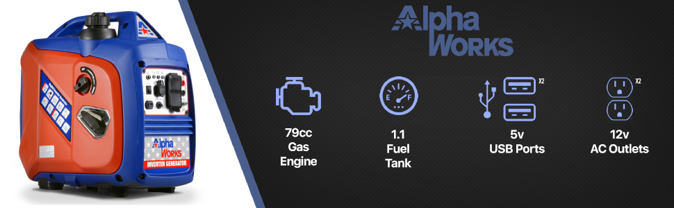AlphaWorks inverter generator portable 79cc gas 120VAC 12v ac dc usb device sensitive power quiet