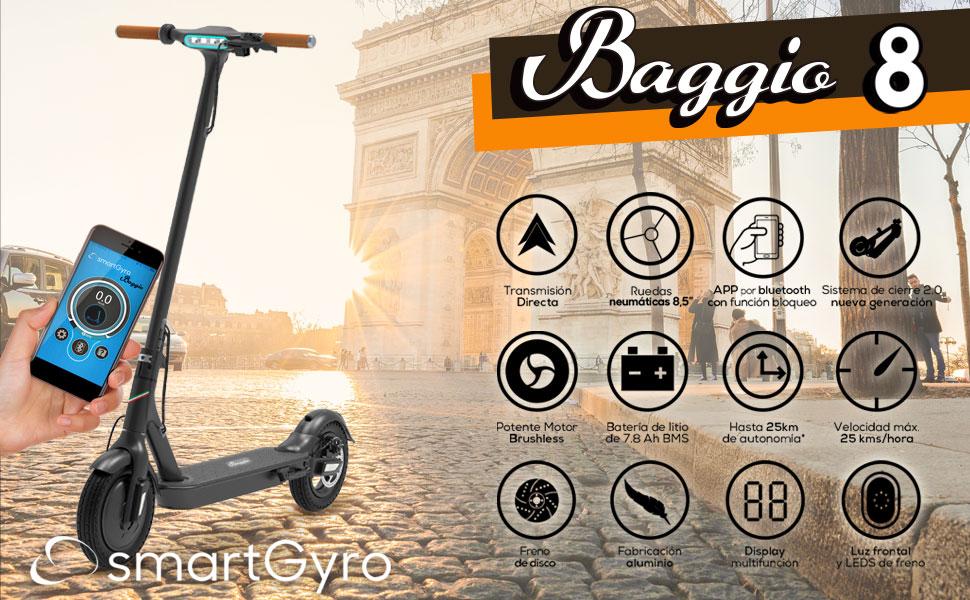 SMARTGYRO Baggio 8 Black V2.0 - Patinete eléctrico con ...
