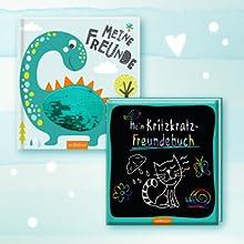 Cover von zwei Freundealben mit Efffekt ab 5 Jahren, Kritzkratz-Freundebuch und mit Wendepailletten