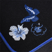 Set of 4 Fit for Suvs,Sedans,Trucks,Cars CAR PASS Embroidery Butterfly and Flower Universal Fit Car Floor Mats Black and Blue