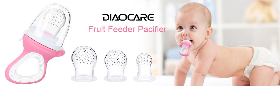 DIAOCARE Fruchtsauger,Silikon Sauger in 3 Größen und Schnullerband,BPA Pink