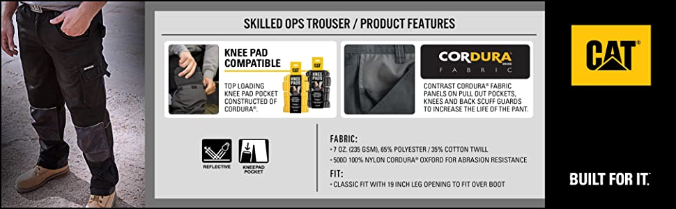CAT Caterpillar Skilled Ops Trousers Classic Fit Durable Mens Work Pants