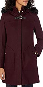 Cole Haan Womens Wool Twill Short Duffel Coat