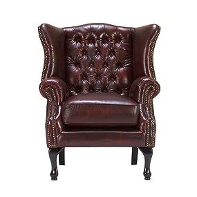 Massivum Sessel Chesterfield Eton 86x100x87 Cm Aus Echt Leder In Rot