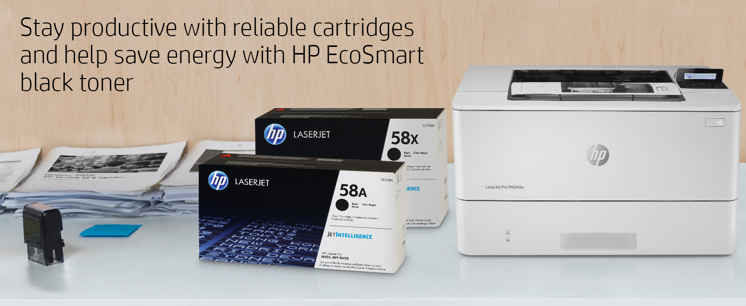 HP LaserJet Pro M404dw Monochrome Wireless Laser Printer with Double-Sided Printing (W1A56A)