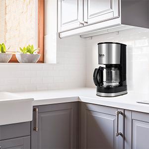 TM Electron TMPCF007 cafetera eléctrica de Goteo, 600W de Potencia, Jarra de 0,6L para 6 Tazas y Filtro extraíble, Plastic, Acero Inoxidable
