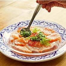 鶏肉のサーモンのカルパッチョ風    ~青唐辛子万能ソースがけ~ナンプラー風味にゅうめん
