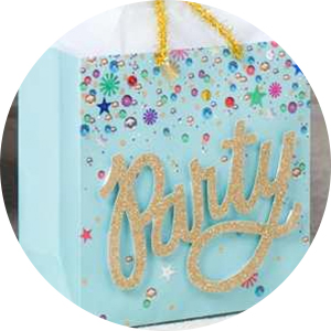 """Aqua gift bag with gold script """"Party"""" and colorful sequin accents for birthdays and brides to be"""