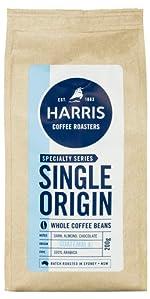 Harris coffee, dark roast, coffee beans, arabica, whole coffee beans, almond, almond coffee