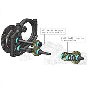 Technical illustration of full ball bearing transmission and all metal internal gears