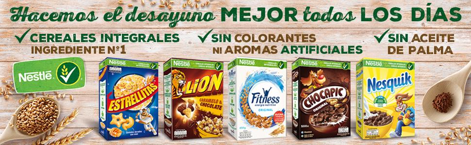 estrellitas, lion, fitness, chocapic, nesquik, cereales nestle, cereales desayuno