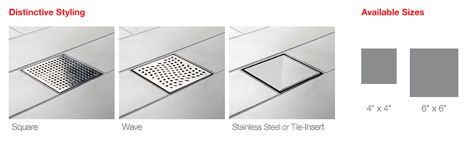 designline design line drain square wave stainless steel tile insert 4 four inch 6 six inch size