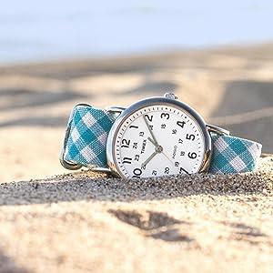 Timex Weekender TW2R24400 Teal Gingham