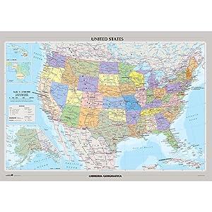 Cartina Fisica Stati Uniti Da Stampare.Amazon It Stati Uniti D America Mappa Fisico E Politica