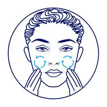 Ilustração de mulher aplicando o creme nas bochechas