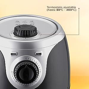 SOGO Air Fry Freidora de Aire Caliente sin Aceite, Capacidad 2L, 1000W con Control de Temperatura y Temporizador, Sin Sobrecalentamientos, Color:
