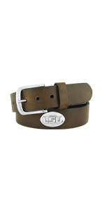 Mens brown pull up leather college concho belt