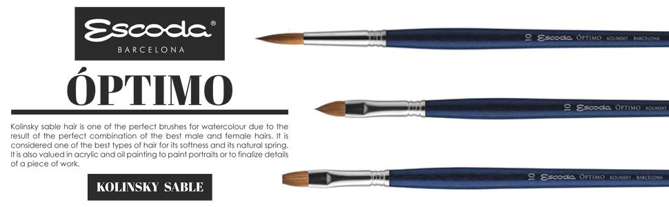 Speedball Art Products 2913-10 Escoda Optimo Series Artist Oil /& Acrylic Long Handle Bright Paint Brush Size 10 Pure Kolinsky