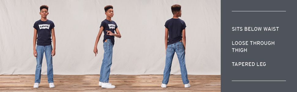 Lot of 2 Levi/'s Boy 550 Relaxed /& 514 Straight Jeans Sz 12 Slim 24W x 26L