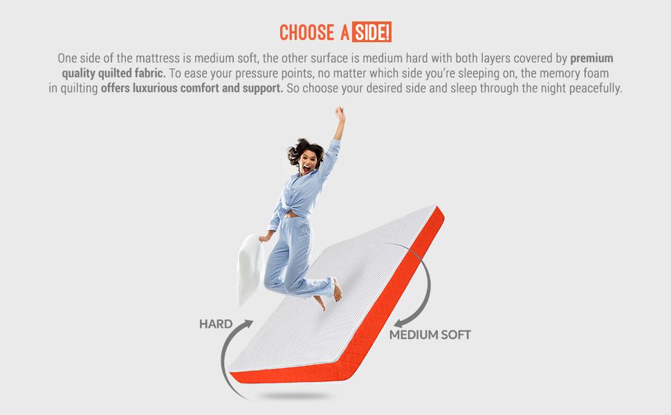 reversible, sleepwell, medium mattress, hard mattress, firm mattress, foam mattress, sleepx