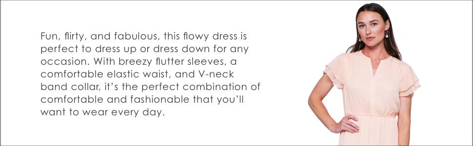 flowy dress flutter sleeves elastic waist comfortable dress