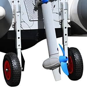3 Adjustable Height settings inflatable boat launch wheels
