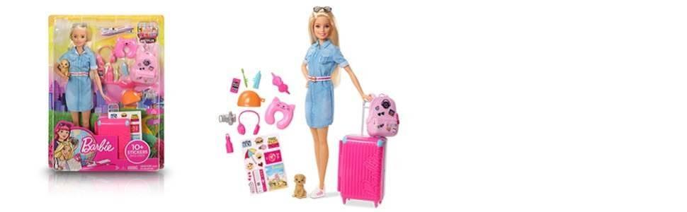 Muñeca viajera Barbie rubia con perrito, maleta, pegatinas y más de diez accesorios para niñas 3-7 A