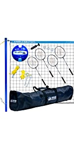 badminton, volleyball, combo, complete, outdoor, blue, net, grass, outdoor, V-SPORTII, sport, steel