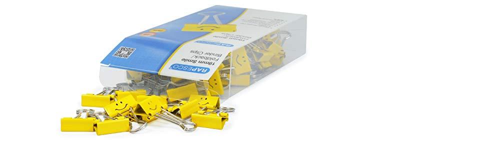 Rapesco Accesorios - Caja de 80 pinzas / clips de 19mm, hasta 75 hojas con sonrisas amarillas: Amazon.es: Oficina y papelería