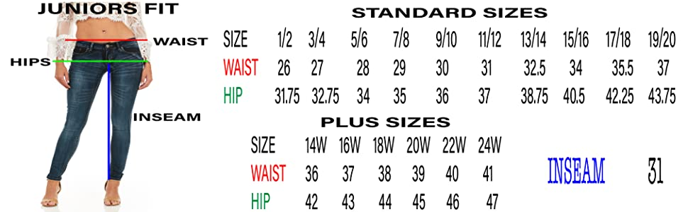 Cover Girl Jeans Mid Rise Size Chart