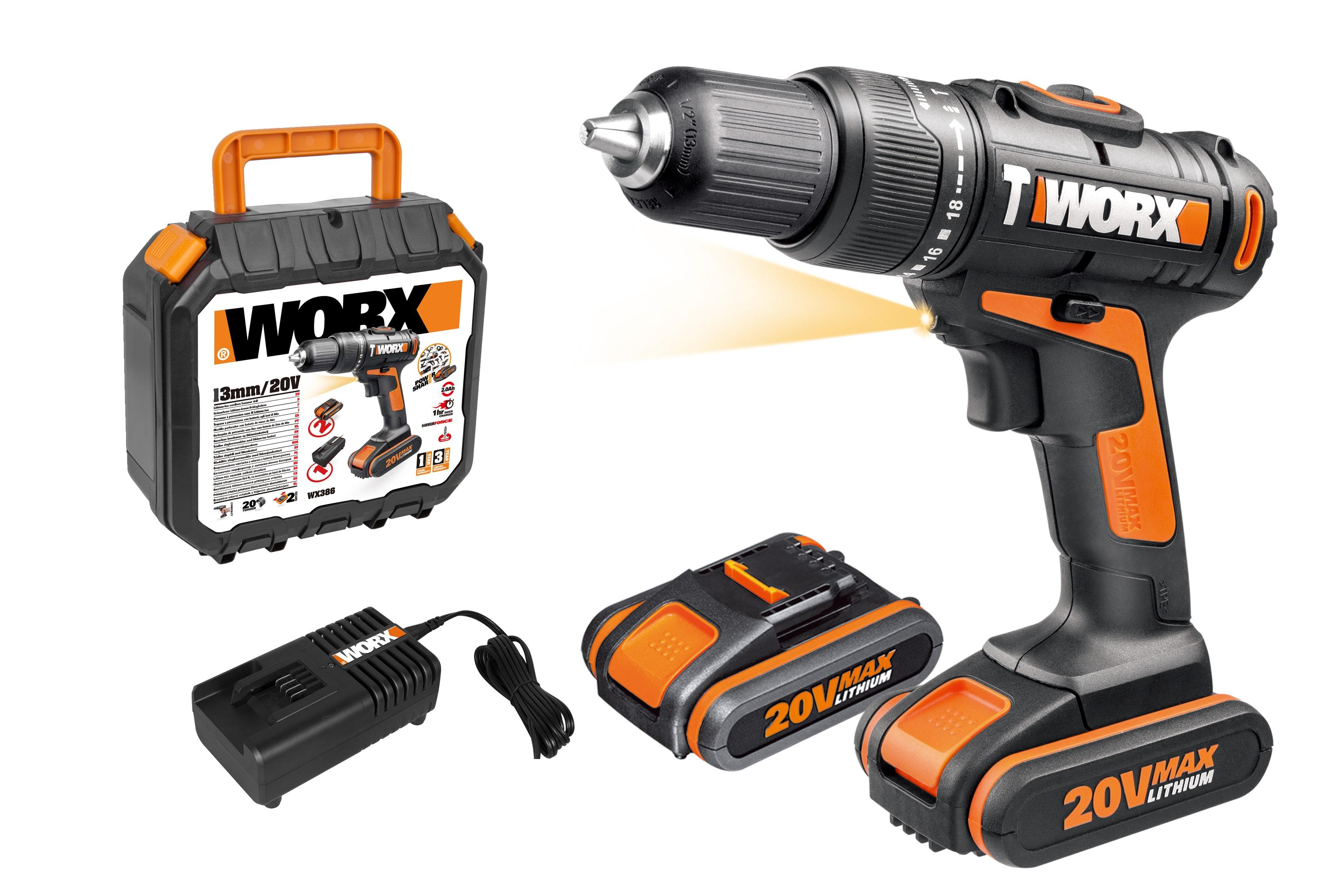 worx wx386 20v cordless hammer drill with x2 2 0ah battery packs diy tools. Black Bedroom Furniture Sets. Home Design Ideas
