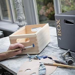 boîte de rangement, boîte en pin, boîte en bois, boîte à peindre