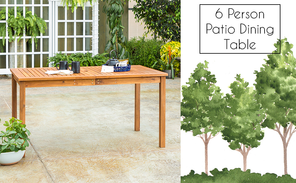 Outdoor Patio Wood Rectangle Dining Table All Weather Backyard Conversation Garden Pool Balcony